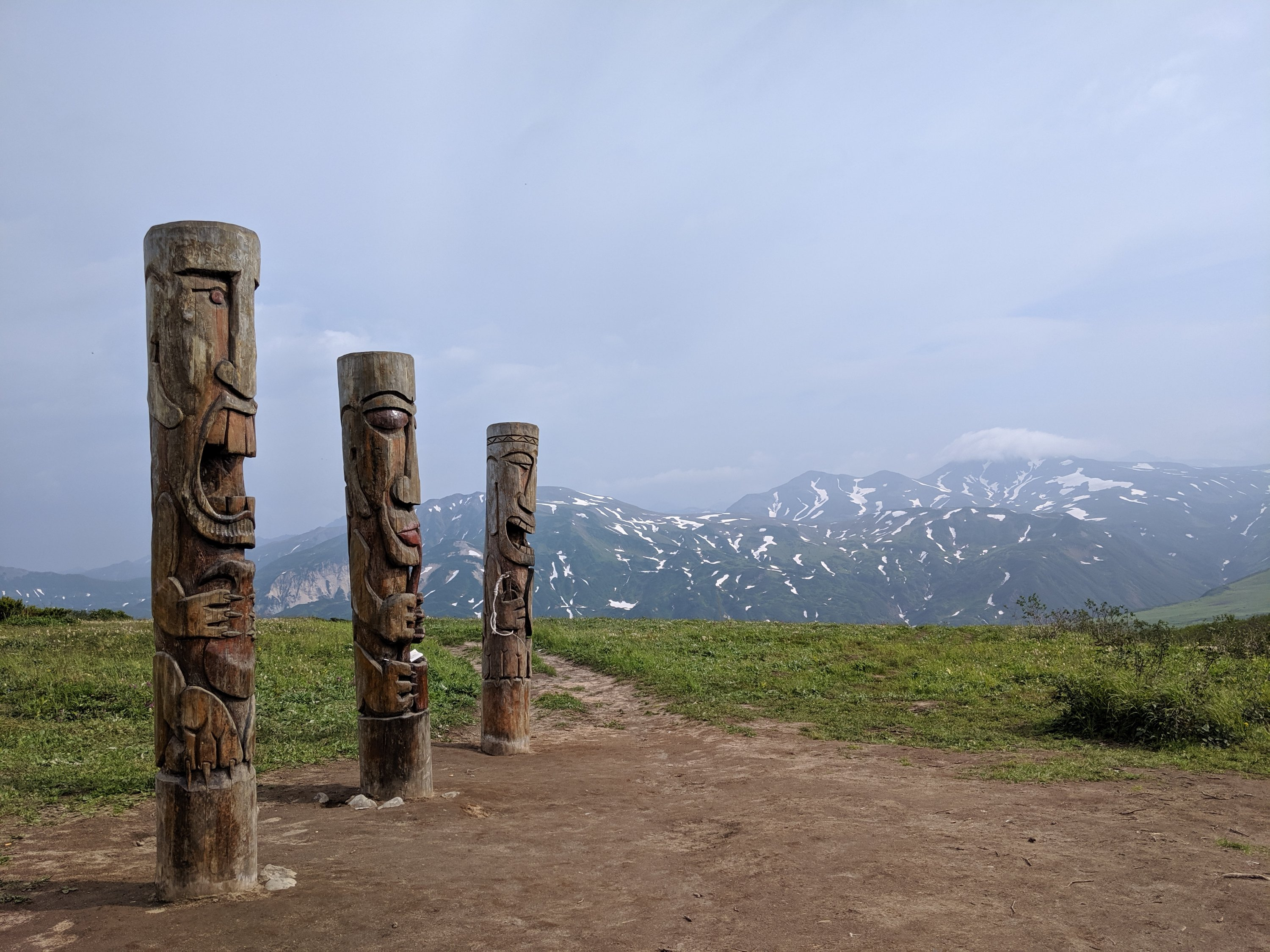 Totem poles at the top of a mountain in Kamchatka, Russia