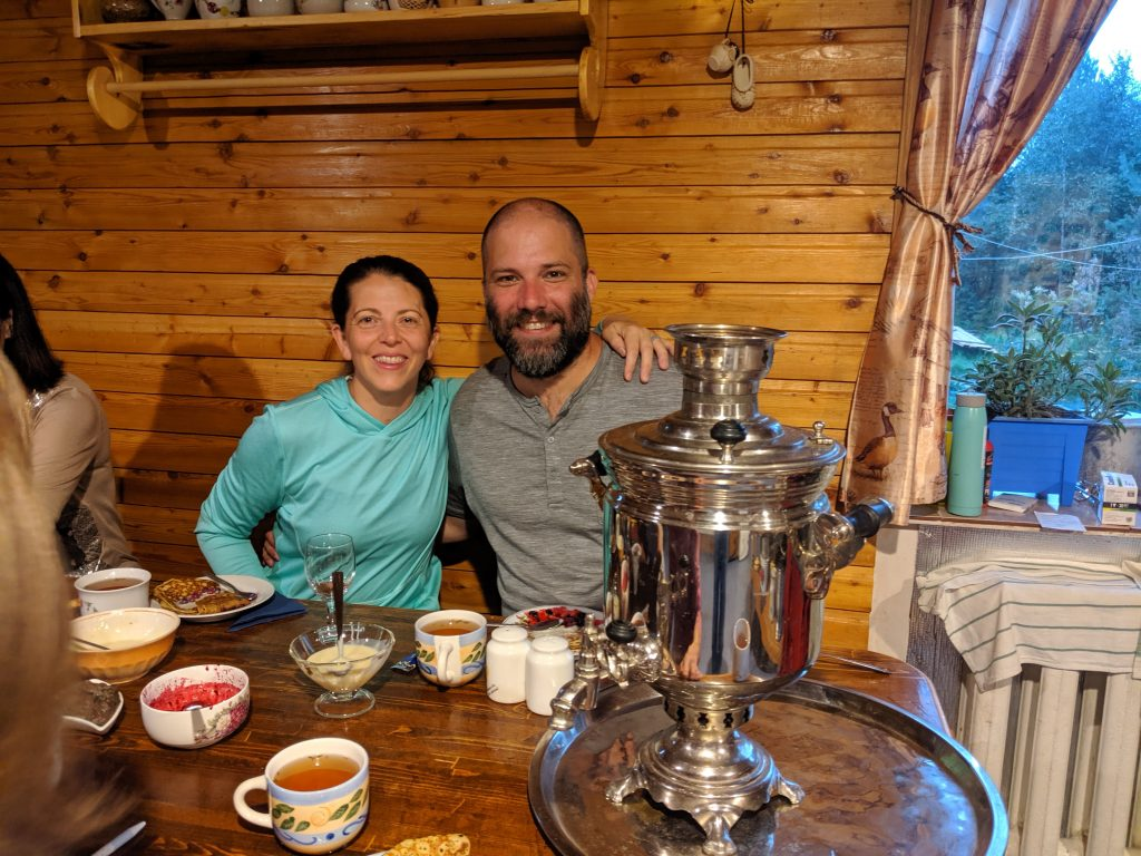 Tea at Grushanka Guesthouse in Esso, Kamchatka, Russia