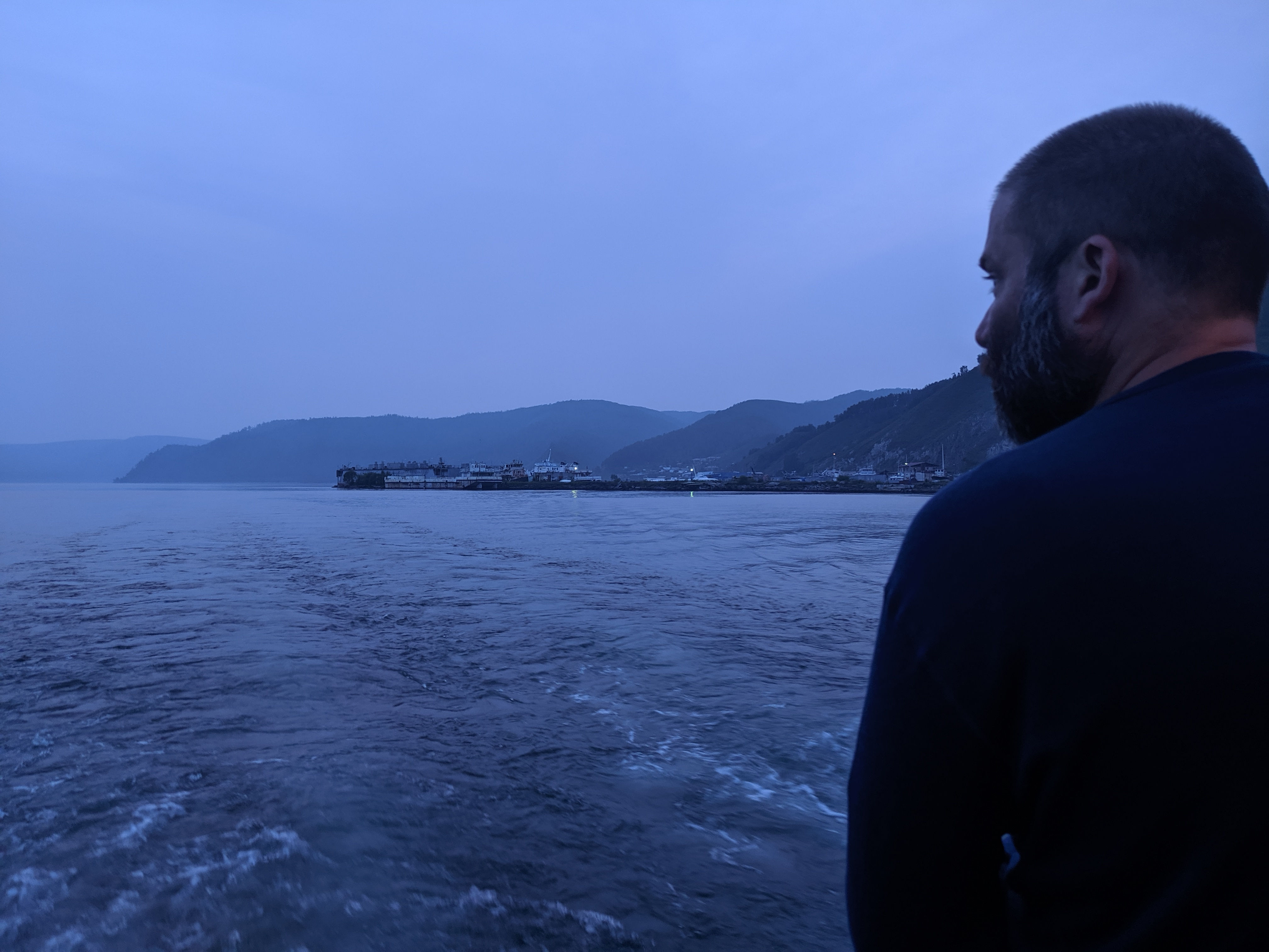 Jan riding the ferry across the Angara River near Listvyanka, Russia