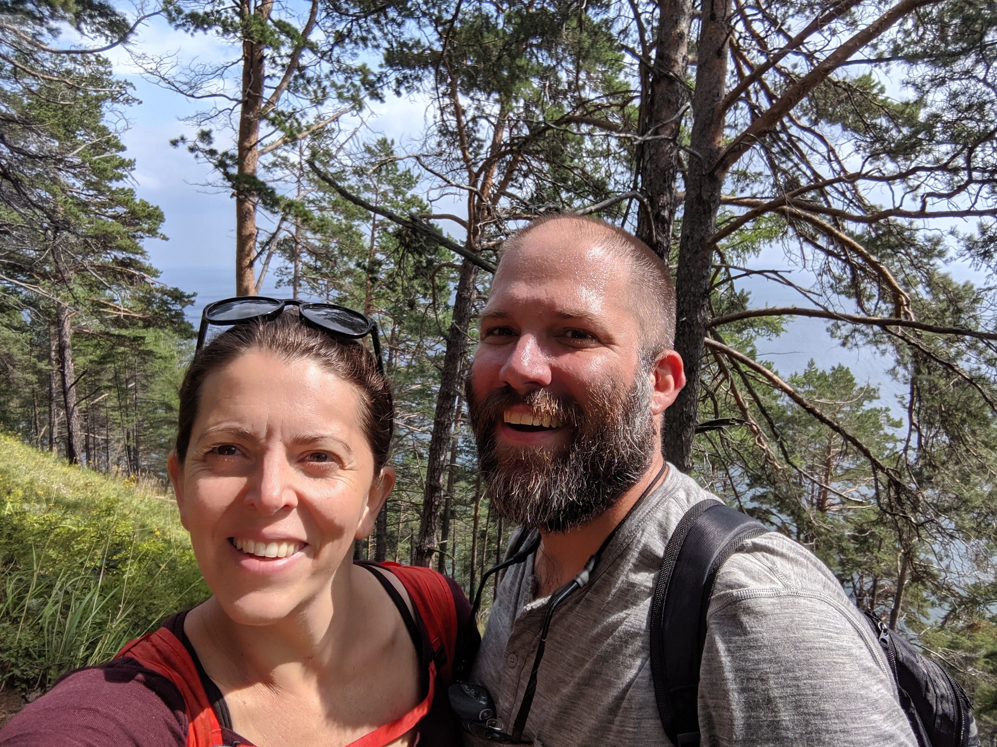 Selfie while hiking near Listvyanka on the Great Baikal Trail