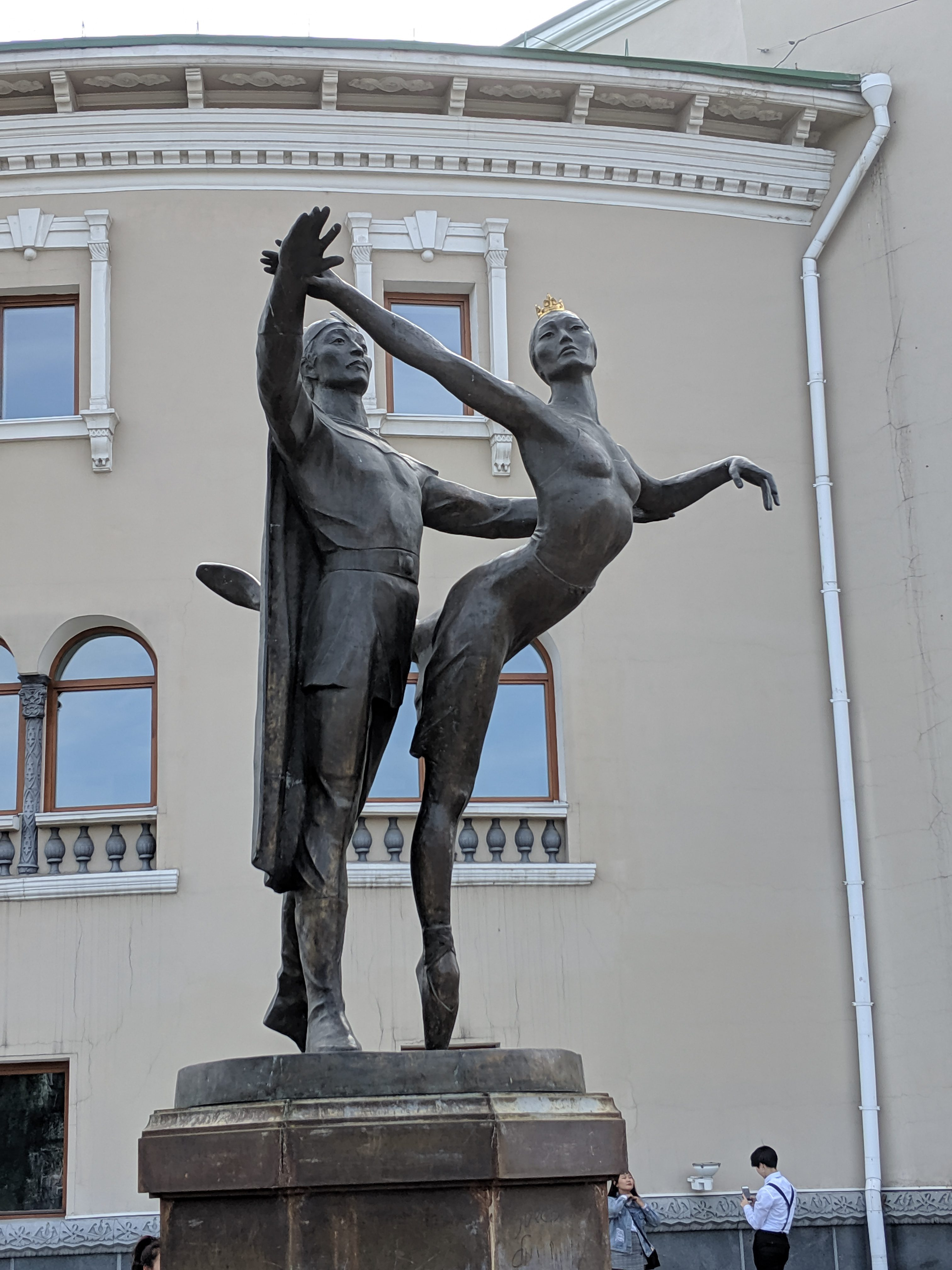 Dancers statue outside the Buryat State Academic Opera and Ballet Theatre