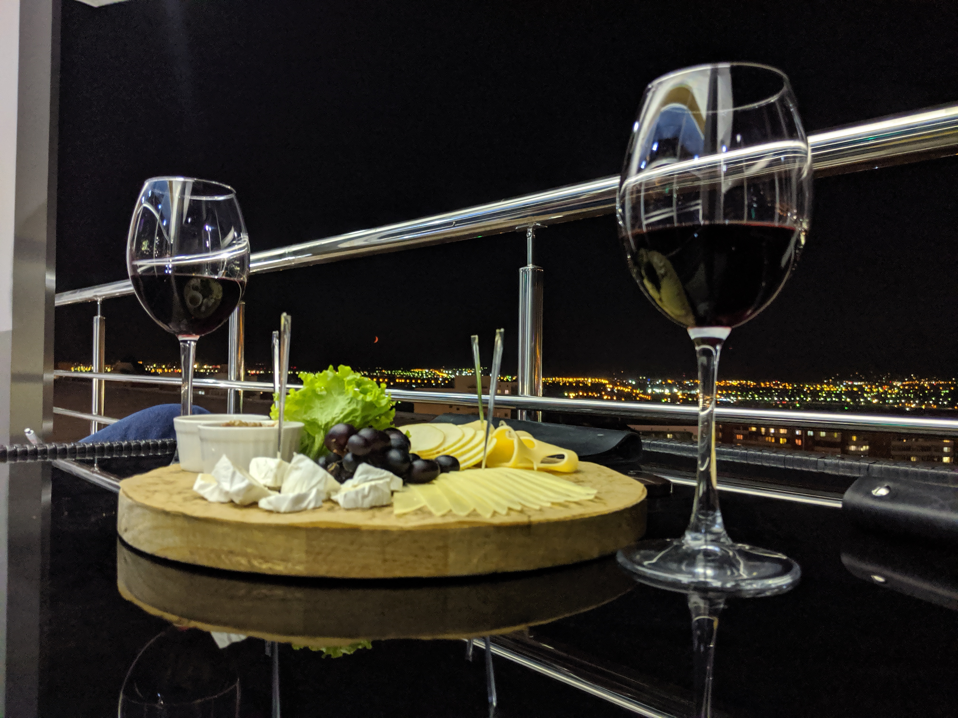 Beautiful night with wine and cheese in Ulan-Ude, Russia