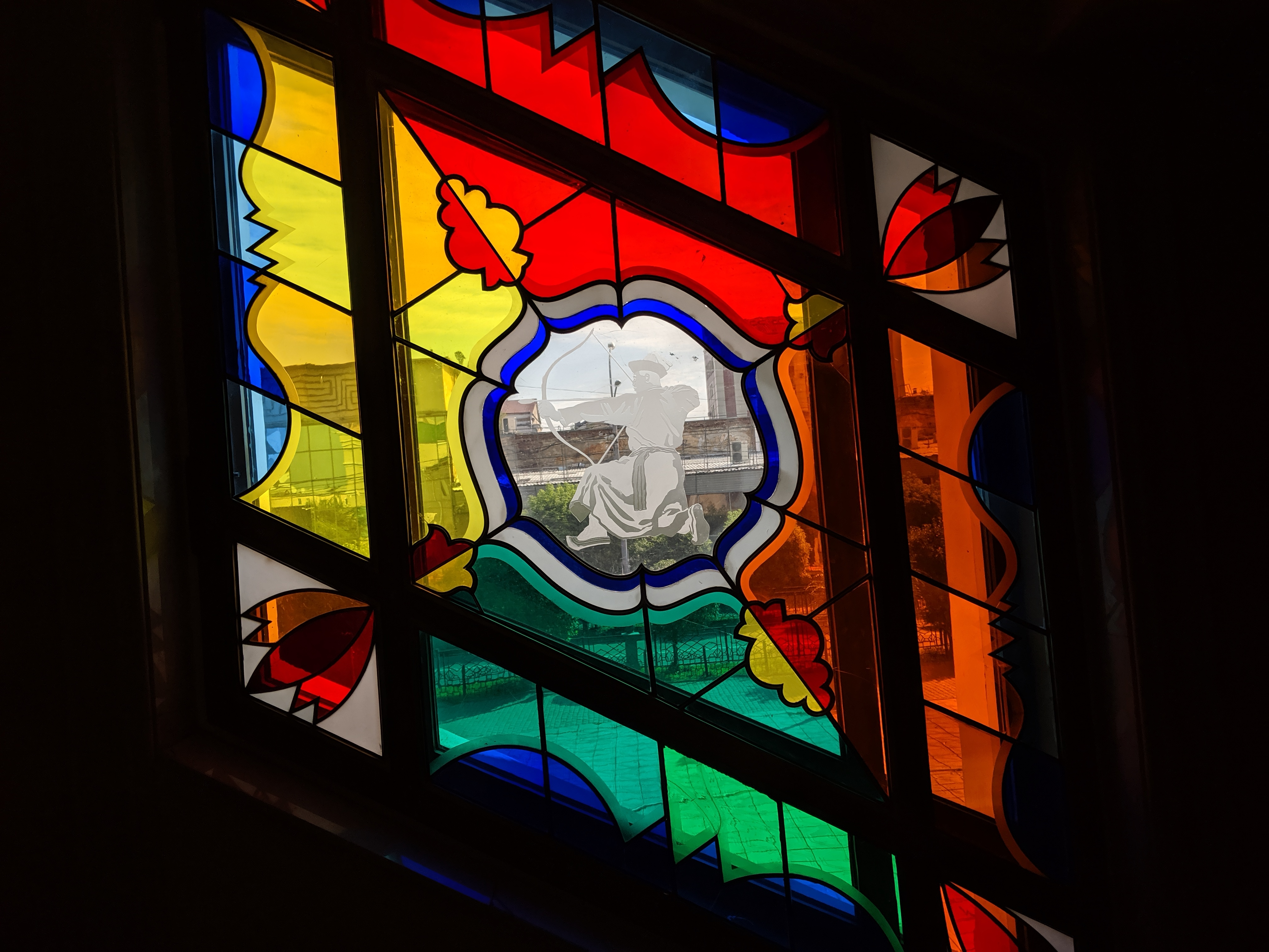 Stained-glass window at ballet theater in Ulan-Ude, Russia