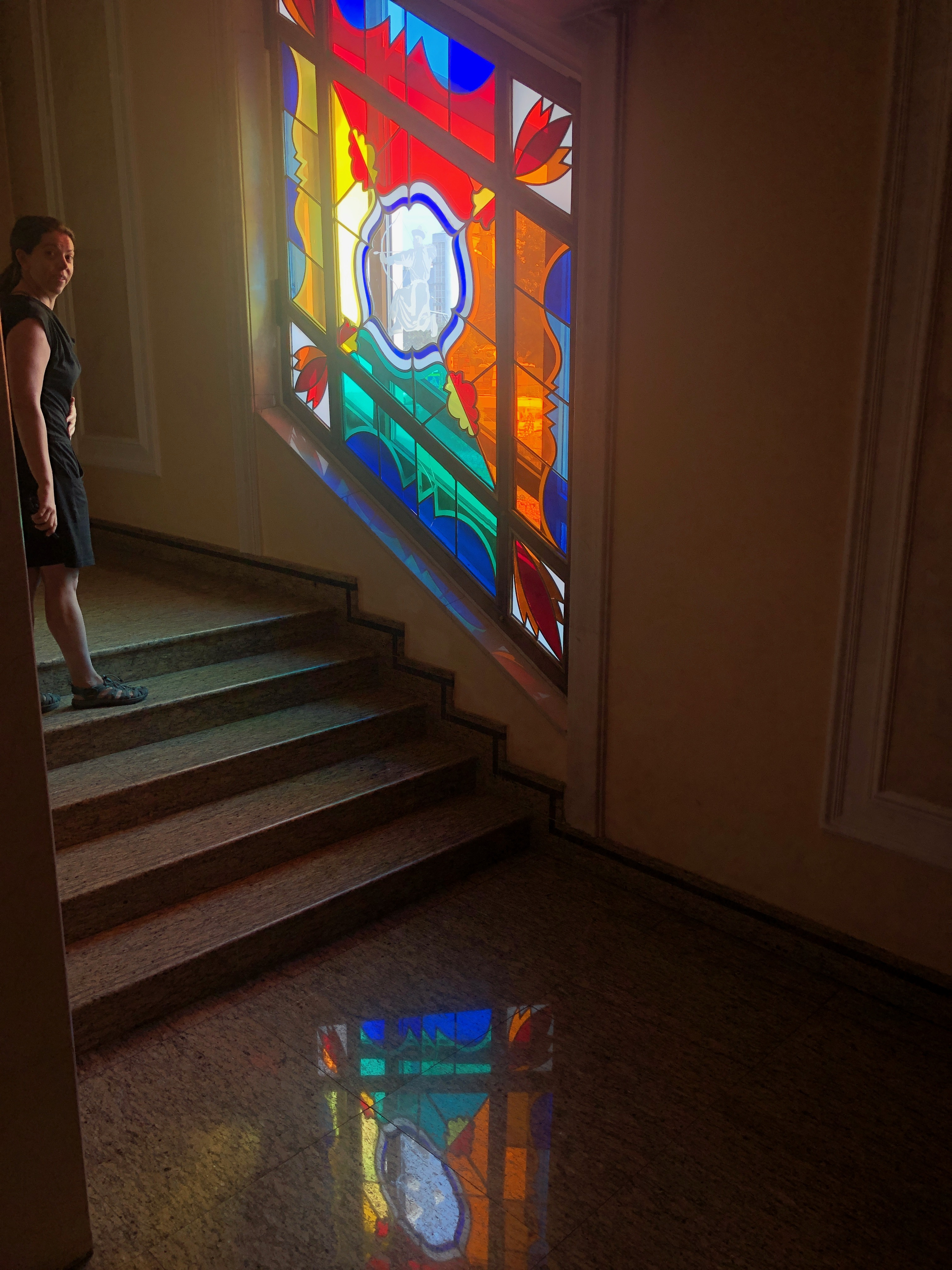 Stained-glass window and reflection at ballet theater in Ulan-Ude, Russia