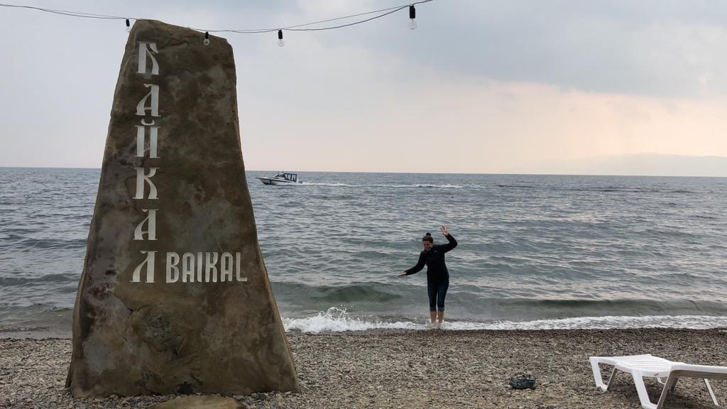 Erin braving the cold water of Lake Baikal