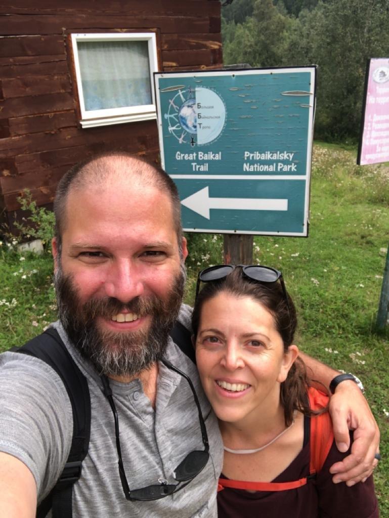 Erin & Jan starting hike along Great Baikal Trail