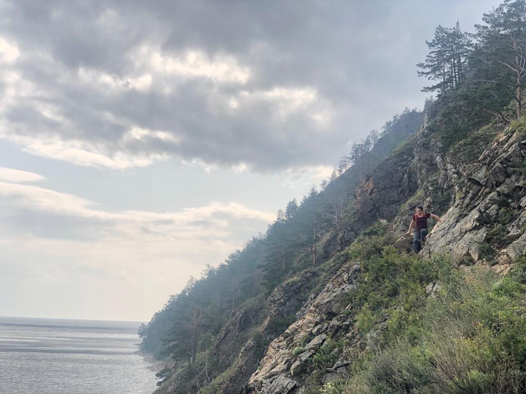 Erin hiking along Great Baikal Trail near Listvyanka